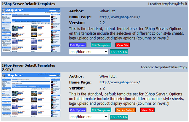 Example Of Installed Template Sets Screen